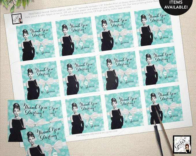"Audrey Hepburn party supplies, tags, stickers, party favors breakfast at bridal blue favor thank you tags 2x2"" 12/Per Sheet"