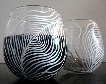 White Peacock Feather Stemless Wine Glasses - Set of 2 Hand Painted Stemless Glasses