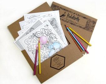 Coloring pages portfolio for adults - mini coloring pages - adult coloring book pages - travel coloring portfolio