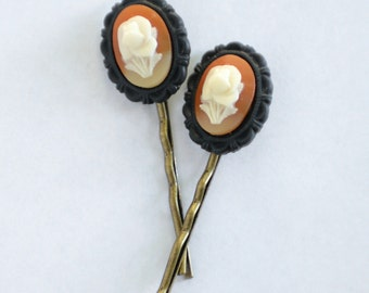 Orange and White Floral Cameo Bobby Pins, Vintage Japanese Cameos, Floral Hair Pins, Garden Wedding Hair Accessory, Small Flower Bobby Pins