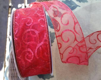 Red Glitter Wire Edged Ribbon 2.5 inch wide - Christmas Decorations - Valentines Ribbon - Wreath making bows - 3 yards