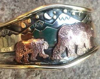 Mama Bear with Cub Cuff Bracelet by Ocean Island Designs