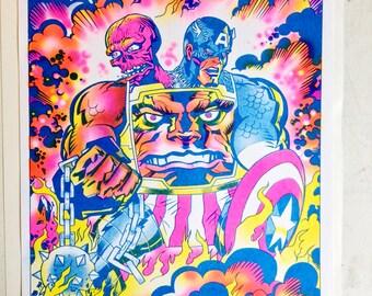 Captain Bemon Rojo Zola Risograph Print