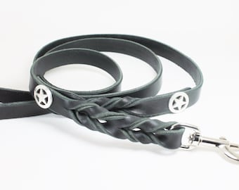 Braided Leather Leash with Stars