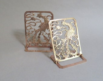 Asian Rooster Bookends - Solid Rose Brass - Folding