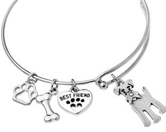 Schnauzer Charm Bracelet, Stainless Steel Giant Schnauzer Bangle, Miniature Schnauzer Jewelry, Standard Schnauzer Gift