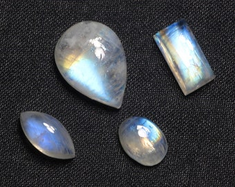4 Pieces Lot, Ranbow Moonstone, Top Quality, Blue Fire, Wirewrap, Jewelry, Handmade, High Polished, Gemstones Wholesalers
