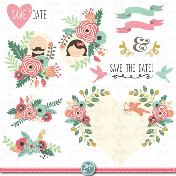 Clipart Flowers Wedding Invitation Clipart Flowers: Wedding Clipart Pack WEDDING FLORAL Clip