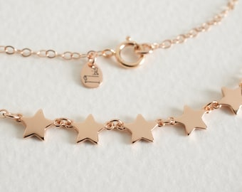 Rose gold  star  necklace - 14K rose gold-filled chain  - rose gold star necklace - chain necklace - teeny tiny star - dainty jewelry