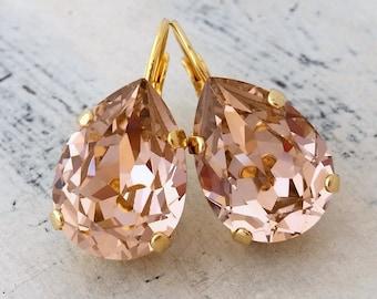 Blush earrings,blush pink drop earrings,Blush bridesmaid jewelry,Swarovski,crystal teardrop earring,Drop earrings,Blush pink bridal earring