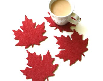 Maple Leaf Felt Drink Coasters Fall Autumn Table Decor 4mm Thick Cork Back Backed Vegan Friendly Absorbent Thirsty Coaster Set