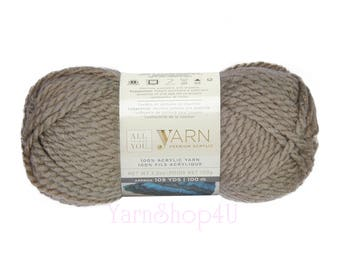 Taupe. Bulky Yarn. All Things You Yarn. Premium Acrylic Yarn. A Grey Beige color. Soft thick yarn. Neutral color. Same as Charisma Taupe.
