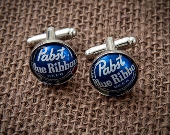 Pabst Blue Ribbon PBR Beer Bottle Cap Cufflinks - Gift for Groomsman Christmas Birthday Anniversary Boyfriend Father Wedding Man Cuff Links