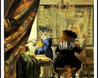 Vintage Cat Art, Vermeer Spoof by Susan Herbert 1994, Original Book Plate Print, Ready To Frame