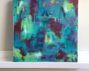 """Small Abstract Painting Original Acrylic Art """"Falling into Place"""""""
