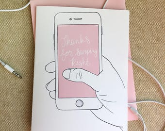 Thanks For Swiping Right - Greeting Card