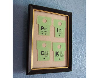 vintage framed flash cards FIfties children's game alphabet kitsch decor