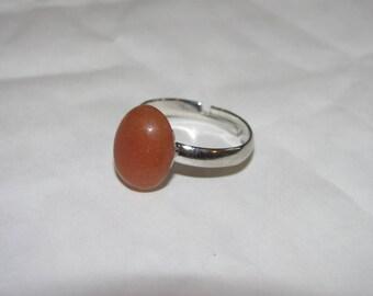 Sharp red-orange Aventurine ring