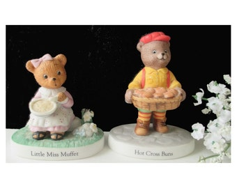 Nursery Rhyme Bear Figurines * Hot Cross Buns * Little Miss Muffet * Bronson * Katherine Stevenson * Nursery Decor * Set Of Two Figurines
