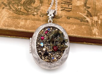 Hoard of the Dragon Locket Necklace with Swarovski® Elements Rhinestones Fantasy Jewelry