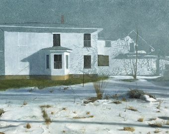 "Giclee archival print of the painting ""Vermont Snow Scene"" signed by the artist."