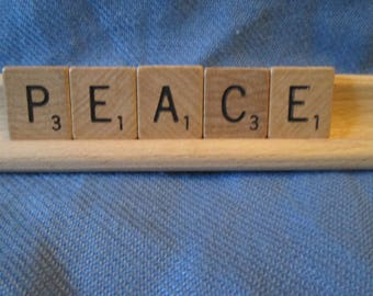 PEACE display using vintage Scrabble wooden tiles and tile holder
