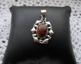 Sterling Sliver Real Stone Pendant 4.6 Grams #692