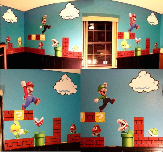 Super Mario Wall Decal Nintendo Wall Decal Personalized Wall
