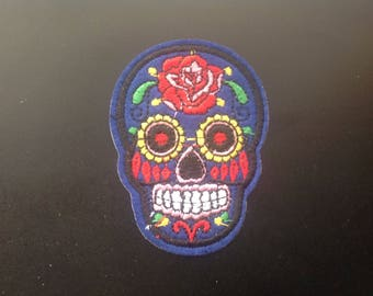 """2"""" Sugar skull dia de los muertos day of the dead embroidered iron on patch"""