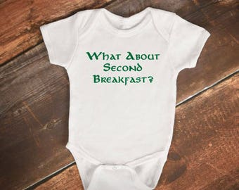 """Baby Bodysuit - """"What About Second Breakfast?"""" - Lord of The Rings / The Hobbit Baby Onesie"""