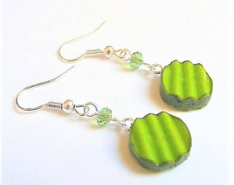 Food Jewelry Pickle Earrings, Dill Pickle Earrings, Miniature Food Earrings, Mini Food Jewellery, Pickle Charm Pregnancy Gift Pickle Jewelry