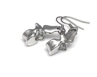 Human Vertebrae Earrings, Anatomical Jewelry Dangle Chiropractor Charm