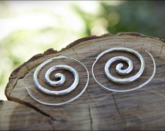 Spiral Hoop Earrings. Silver plated. Tribal Spiral Earrings. Spiral earrings. Ethnic style. Tribal earrings. Gypsy. Boho Jewelry.