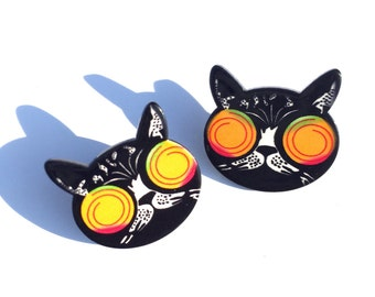 Crazy Black Cat Earrings, Hypnotized Cat Earrings, Cat Stud Earrings
