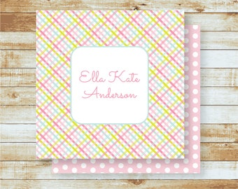 Personalized Calling Cards / Gift Tags / Kids / Pink Plaid & Polka Dots