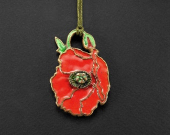 Poppy pendant, Reversible statement flowery necklace, Bronze jewelry, Glass enamel, Art noveau, Vintage styled, Red flower, Bohemian style