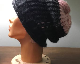 Black and pink slouchy knit hat