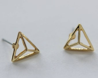 Pointy Triangle Earring Studs Gold Plated Finding