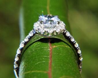 CUSTOM Made - Diamond Engagement Ring - 1.61carat  Round - Split Shank-  Halo - Pave - Antique Style - 14K white gold