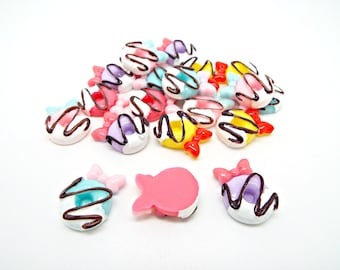 10 Donut Cabochons, Resin Cabochons, Deco Food Cabs, 20mm Doughnuts, Flatback Cabs, Frosted Donuts, Cell Phone Deco, UK Seller