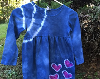 Blue Girls Dress, Tie Dye Girls Dress, Pink Heart Dress, Batik Girls Dress, Cotton Girls Dress, Long Sleeve Dress, Flower Girl Dress (6)