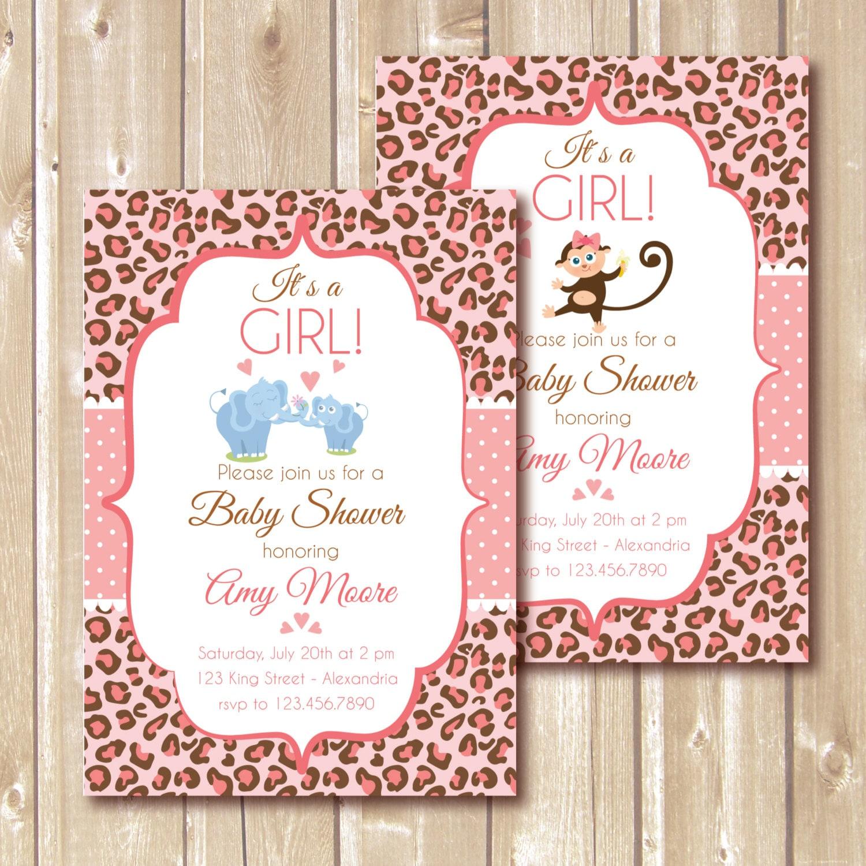 Baby Shower Invitation. Baby girl. Cheetah print babyshower