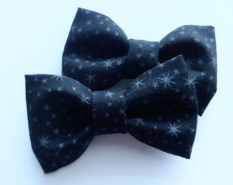 fabric fall hair bows- 2 mini pigtail bows- black with stars halloween-perfect fabric bow for baby toddlers
