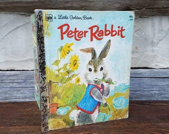 Peter Rabbit- Vintage Easter Decorations- Beatrix Potter- 1970's Vintage Books- Little Golden Books- Illustrated- Children's Books- Spring