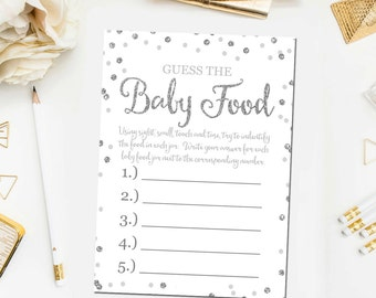 Pink and Gold Baby Shower Guess The Baby Food Game Printable