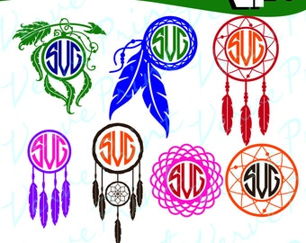 Dream Catcher Svg Monogram Frames, Dreamcatcher Frames Svg, Ai, Eps, Pdf, Png Cutting file, Silhouette Clip Art svg Commercial use