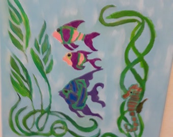 Tropical Fish and SeaHorse Painting
