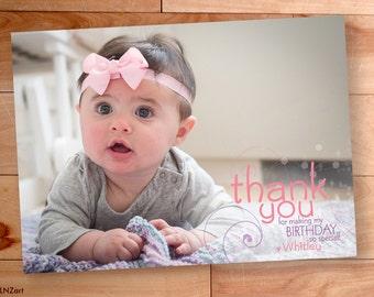 Thank You Photo Card, Birthday Thank You, Custom Thank You Card, Swirls