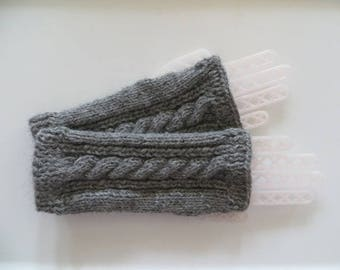Alpaca Fingerless Gloves, Handmade Gloves, Wrist Warmers, Texting Gloves, Light Gray