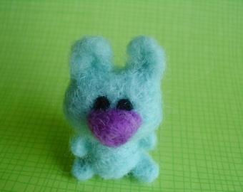 Needle Felted Blue Bunny Critter Pocket Pet Animal Figurine Soft Sculpt Ooak Doll Miniature Cute